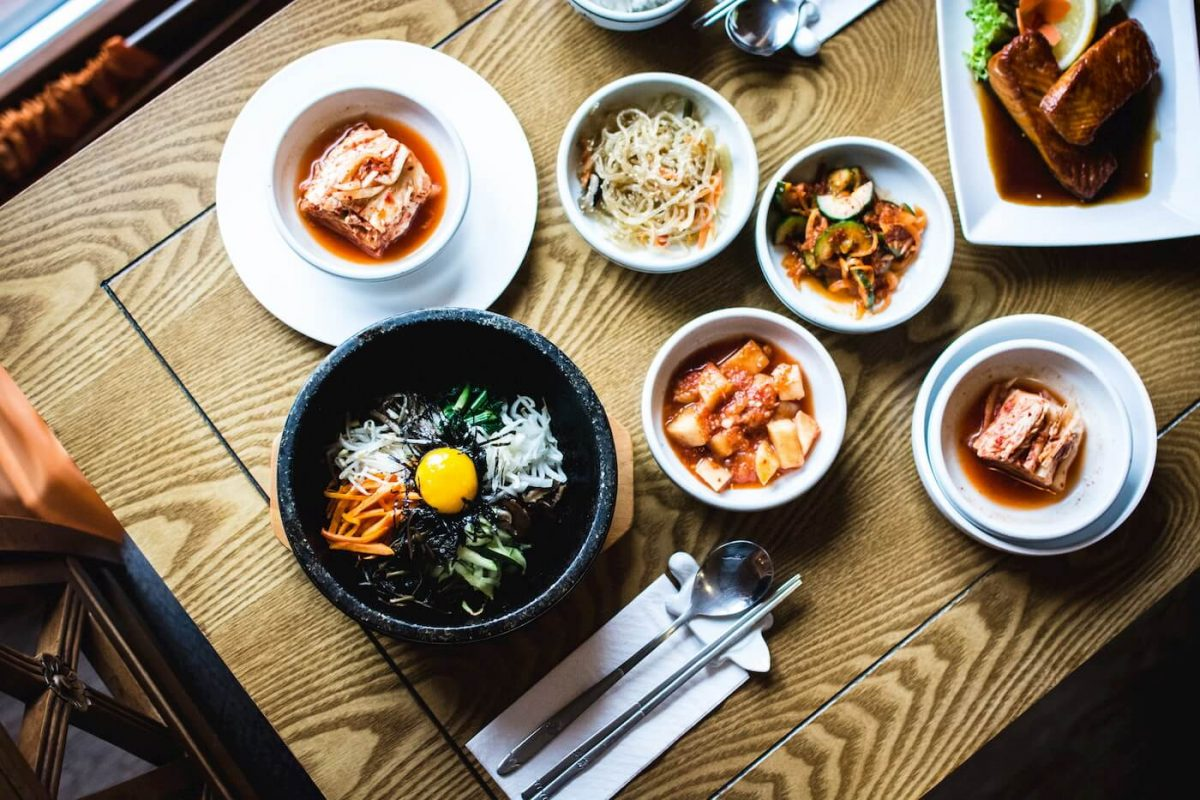 Table with Korean dishes