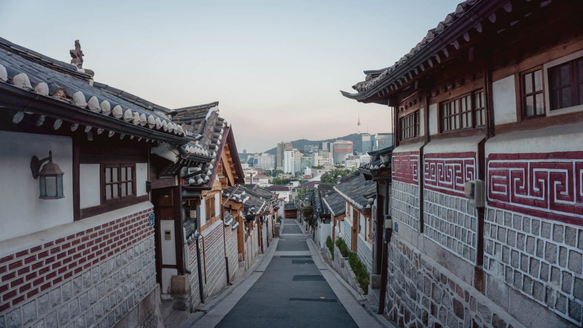 Traditional korean houses looking down Seoul city