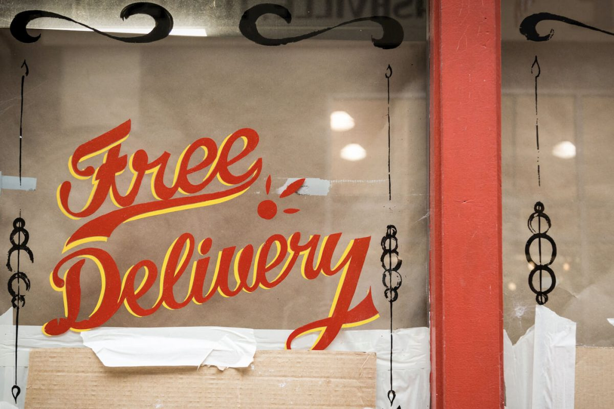 Free Delivery text sign