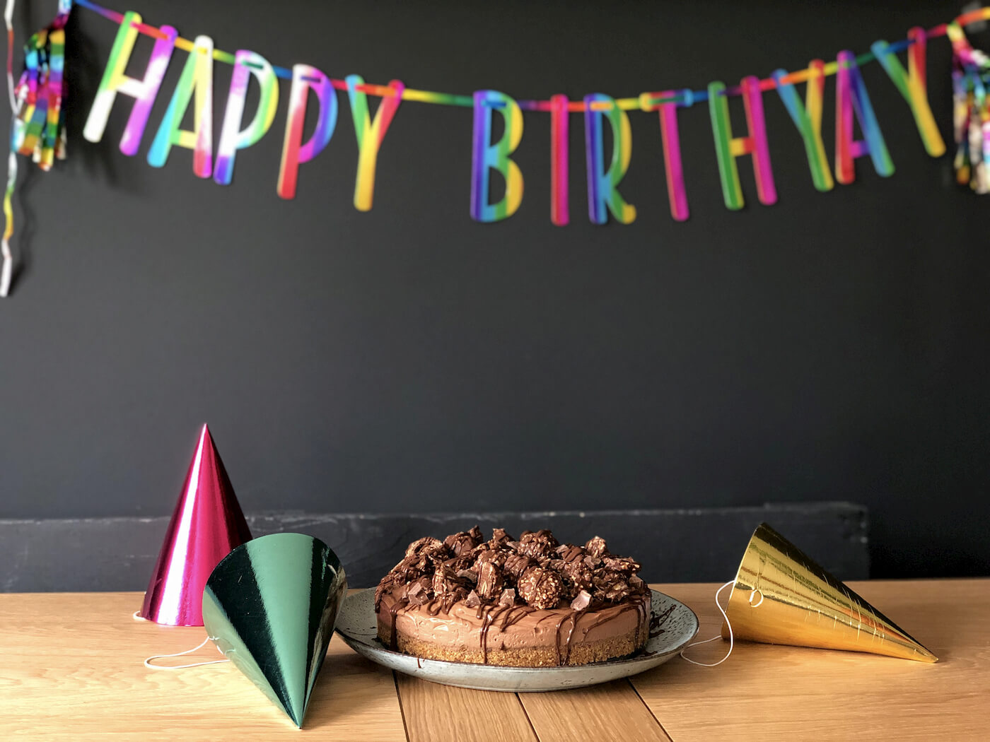 Chocolate cake on a table