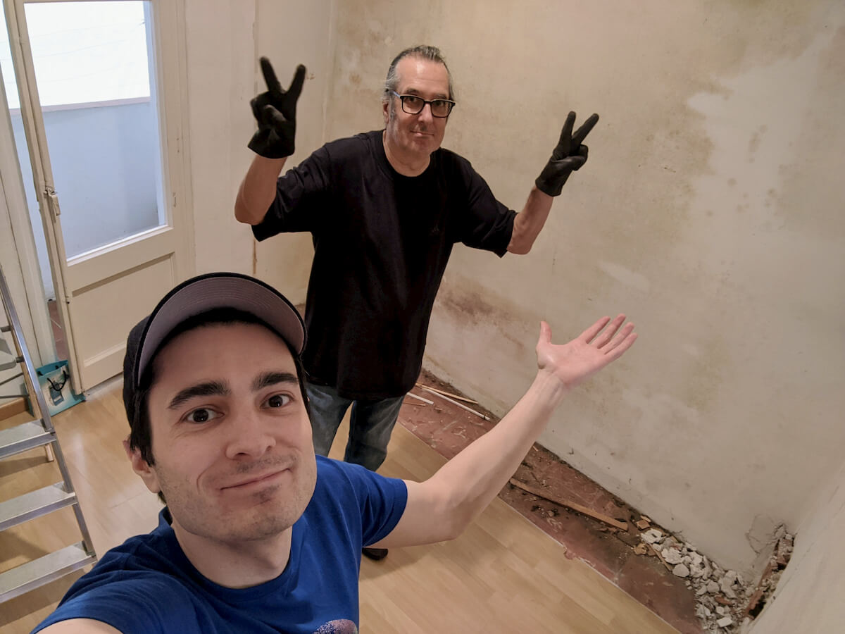 My dad and I working on my apartment