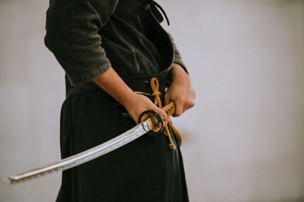 A man wielding a sword