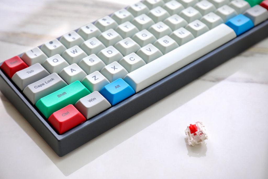 mechanical keyboard on a desk